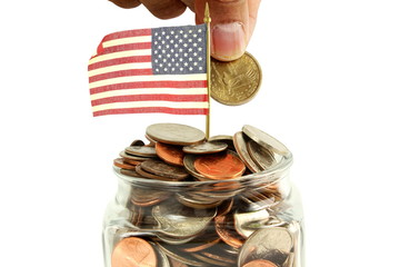 us or American flag waving with money or coin