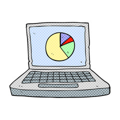 cartoon laptop computer with pie chart