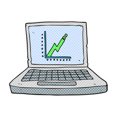cartoon laptop computer with business graph