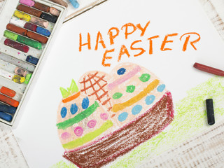 Happy Easter card with basket, eggs - colorful drawing
