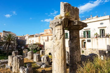 Syracusa Ruins of the ancient greek doric temple of Apollo