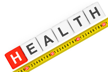Measure Health Concept. Health Cubes with Measuring Tape