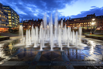 Fountain in city centre Sheffield