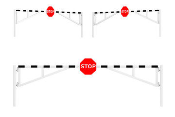 Road Car Barriers with Stop Sign