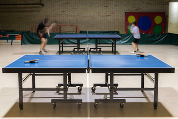 table tennis in the sports hall