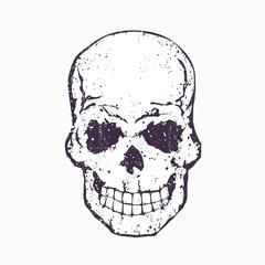 grunge skull on white, old school t-shirt print with skull, vector illustration