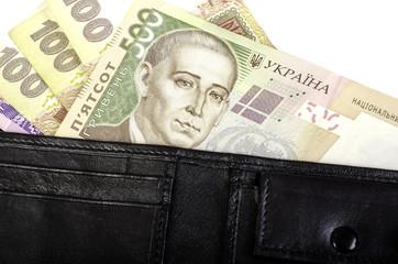 Ukrainian hryvnia. Banknotes in denominations 100, 200, 500 in b