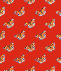 Peacock butterflies on a red background. Watercolor drawing. Insects art. Handwork. Seamless pattern