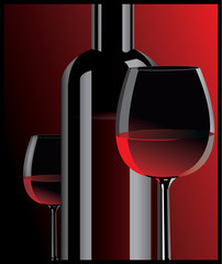 Realistic vector graphic bottle and glass with red wine