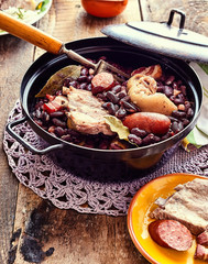 Traditional Brazilian Stew with Beans and Meats