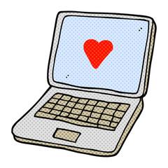 cartoon laptop computer with heart symbol on screen