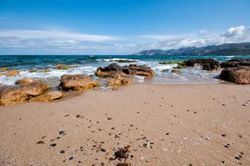 beautiful beach with coral sea in Sardinia