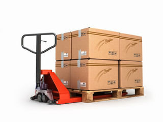 Hand pallet truck carries a pallet with boxes are isolated on a