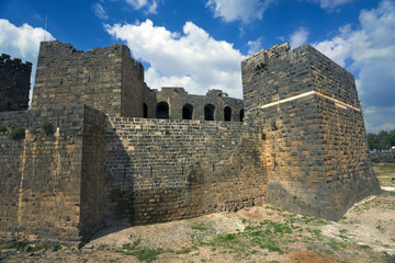Syria. Bosra (Busra). Medieval Arab citadel was built around the Roman theatre. This site is on UNESCO World Heritage List