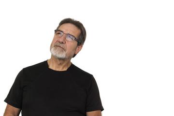 good looking old man look up