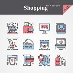 Trendy Modern flat and thin line icons set on the topic of shopping with online payment,online shopping,gift,product delivery,customer support etc.For designers and developers