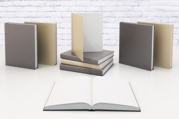 Blank diary pages and many books behind on white table at white