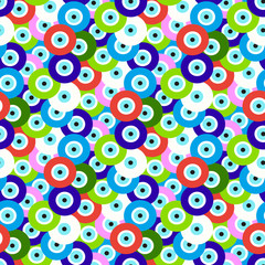 Seamless pattern with evil eye