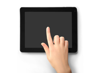 Female hand using modern tablet, isolated on white
