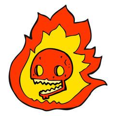 cartoon burning skull