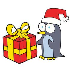 cartoon christmas penguin with present