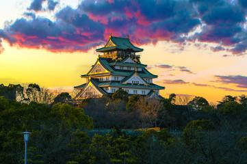 Fototapeta Amazing sunset Image of Osaka Castle