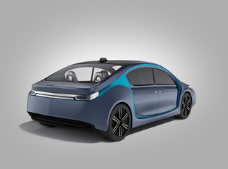 Rear view of autonomous car isolated on gray background. Clipping path available