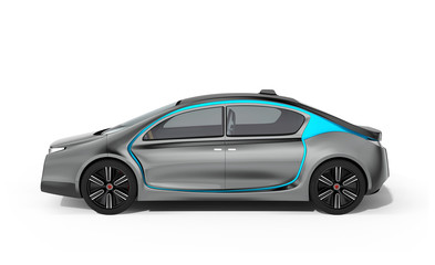 Side view of autonomous electric car isolated on white background. Clipping path available.