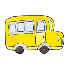 textured cartoon yellow school bus