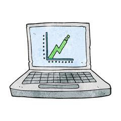 textured cartoon laptop computer with business graph