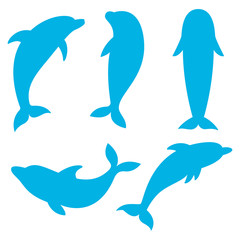Dolphin silhouettes on the white background. Swimming Dolphins.