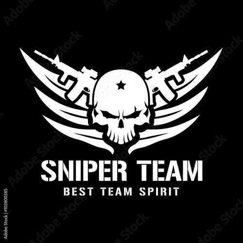 sniper team logo,skull logo,tattoo logo,vector logo template