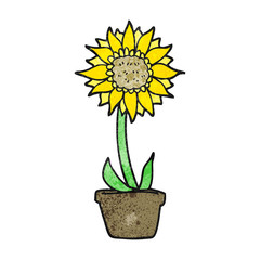 textured cartoon sunflower