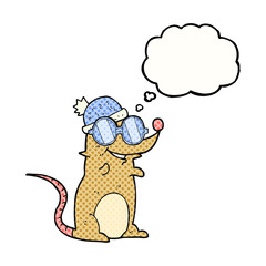 thought bubble cartoon mouse wearing glasses and hat