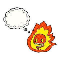 thought bubble cartoon burning skull