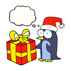 thought bubble cartoon christmas penguin with present