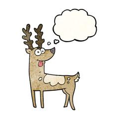thought bubble textured cartoon reindeer