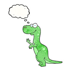 thought bubble textured cartoon dinosaur