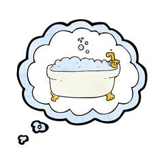 thought bubble textured cartoon bathtub