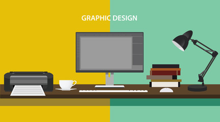 graphic design profession workdesk monitor printer books lamp pc computer