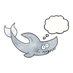 thought bubble textured cartoon shark