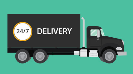 delivery black truck isolated illustration