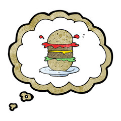 thought bubble textured cartoon burger