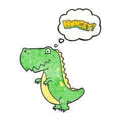 thought bubble textured cartoon hungry dinosaur