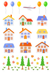 set of colorful house