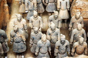 Keuken foto achterwand Xian Top view of terracotta soldiers of the famous Terracotta Army