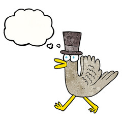 thought bubble textured cartoon duck in top hat