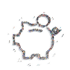 people  shape piggy bank