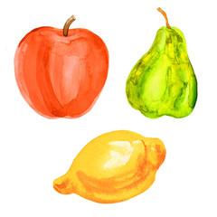 Pear, apple, lemon watercolor illustration on white background