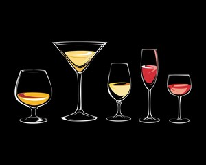 Wine with a glass logo icon vector